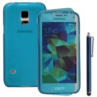 Samsung Galaxy S5 Mini G800F G800H / Duos: Accessoire Coque Etui Housse Pochette silicone gel Portefeuille Livre rabat + Stylet - BLEU