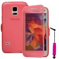 Samsung Galaxy S5 Mini G800F G800H / Duos: Accessoire Coque Etui Housse Pochette silicone gel Portefeuille Livre rabat + mini Stylet - ROSE