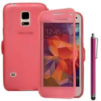 Samsung Galaxy S5 Mini G800F G800H / Duos: Accessoire Coque Etui Housse Pochette silicone gel Portefeuille Livre rabat + Stylet - ROSE