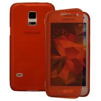 Samsung Galaxy S5 Mini G800F G800H / Duos: Accessoire Coque Etui Housse Pochette silicone gel Portefeuille Livre rabat - ROUGE