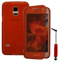 Samsung Galaxy S5 Mini G800F G800H / Duos: Accessoire Coque Etui Housse Pochette silicone gel Portefeuille Livre rabat + mini Stylet - ROUGE