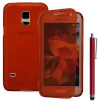 Samsung Galaxy S5 Mini G800F G800H / Duos: Accessoire Coque Etui Housse Pochette silicone gel Portefeuille Livre rabat + Stylet - ROUGE