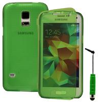 Samsung Galaxy S5 Mini G800F G800H / Duos: Accessoire Coque Etui Housse Pochette silicone gel Portefeuille Livre rabat + mini Stylet - VERT