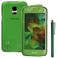 Samsung Galaxy S5 Mini G800F G800H / Duos: Accessoire Coque Etui Housse Pochette silicone gel Portefeuille Livre rabat + Stylet - VERT