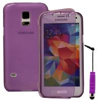Samsung Galaxy S5 Mini G800F G800H / Duos: Accessoire Coque Etui Housse Pochette silicone gel Portefeuille Livre rabat + mini Stylet - VIOLET