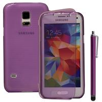 Samsung Galaxy S5 Mini G800F G800H / Duos: Accessoire Coque Etui Housse Pochette silicone gel Portefeuille Livre rabat + Stylet - VIOLET