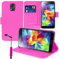 Samsung Galaxy S5 Mini G800F G800H / Duos: Accessoire Etui portefeuille Livre Housse Coque Pochette support vidéo cuir PU + mini Stylet - ROSE