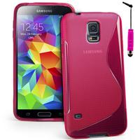 Samsung Galaxy S5 Mini G800F G800H / Duos: Accessoire Housse Etui Pochette Coque S silicone gel + mini Stylet - ROSE