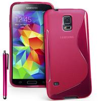 Samsung Galaxy S5 Mini G800F G800H / Duos: Accessoire Housse Etui Pochette Coque S silicone gel + Stylet - ROSE