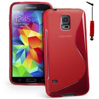 Samsung Galaxy S5 Mini G800F G800H / Duos: Accessoire Housse Etui Pochette Coque S silicone gel + mini Stylet - ROUGE