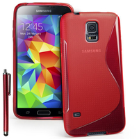 Samsung Galaxy S5 Mini G800F G800H / Duos: Accessoire Housse Etui Pochette Coque S silicone gel + Stylet - ROUGE