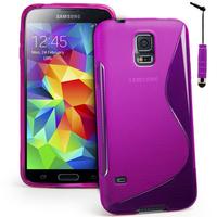 Samsung Galaxy S5 Mini G800F G800H / Duos: Accessoire Housse Etui Pochette Coque S silicone gel + mini Stylet - VIOLET