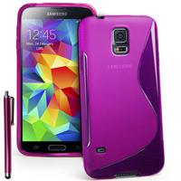 Samsung Galaxy S5 Mini G800F G800H / Duos: Accessoire Housse Etui Pochette Coque S silicone gel + Stylet - VIOLET
