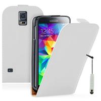 Samsung Galaxy S5 Mini G800F G800H / Duos: Accessoire Housse coque etui cuir fine slim + mini Stylet - BLANC