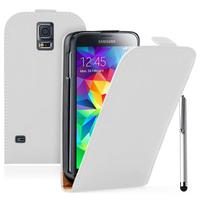 Samsung Galaxy S5 Mini G800F G800H / Duos: Accessoire Housse coque etui cuir fine slim + Stylet - BLANC