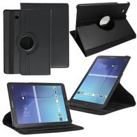 Samsung Galaxy Tab E 9.6 T560 T561: Accessoire Etui Housse Coque avec support Et Rotative Rotation 360° en cuir PU - NOIR