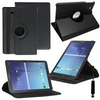 Samsung Galaxy Tab E 9.6 T560 T561: Accessoire Etui Housse Coque avec support Et Rotative Rotation 360° en cuir PU + mini Stylet - NOIR