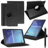 Samsung Galaxy Tab E 9.6 T560 T561: Accessoire Etui Housse Coque avec support Et Rotative Rotation 360° en cuir PU + Stylet - NOIR