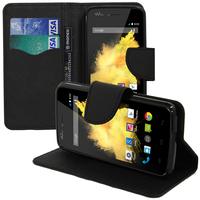 Wiko Birdy: Accessoire Etui portefeuille Livre Housse Coque Pochette support vidéo cuir PU effet tissu - NOIR