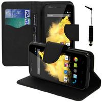Wiko Birdy: Accessoire Etui portefeuille Livre Housse Coque Pochette support vidéo cuir PU effet tissu + mini Stylet - NOIR