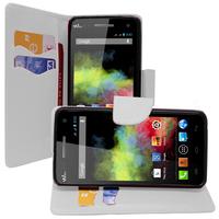 Wiko Rainbow: Accessoire Etui portefeuille Livre Housse Coque Pochette support vidéo cuir PU effet tissu - BLANC