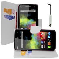 Wiko Rainbow: Accessoire Etui portefeuille Livre Housse Coque Pochette support vidéo cuir PU effet tissu + mini Stylet - BLANC