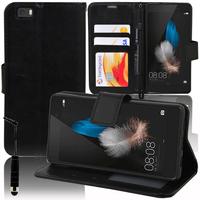 Huawei P8lite ALE-L21/ P8 lite ALE-L04 (non compatible Huawei P8): Accessoire Etui portefeuille Livre Housse Coque Pochette support vidéo cuir PU + mini Stylet - NOIR