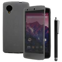 Google Nexus 5: Accessoire Coque Etui Housse Pochette silicone gel Portefeuille Livre rabat + Stylet - GRIS