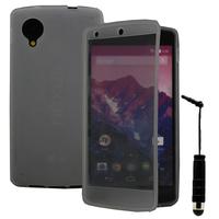 Google Nexus 5: Accessoire Coque Etui Housse Pochette silicone gel Portefeuille Livre rabat + mini Stylet - GRIS