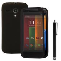 Motorola Moto G X1032/ Forte/ Grip Shell/ LTE 4G: Accessoire Coque Etui Housse Pochette silicone gel Portefeuille Livre rabat + Stylet - GRIS