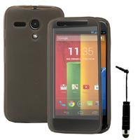 Motorola Moto G X1032/ Forte/ Grip Shell/ LTE 4G: Accessoire Coque Etui Housse Pochette silicone gel Portefeuille Livre rabat + mini Stylet - GRIS