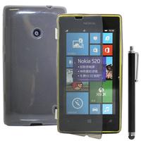 Nokia Lumia 520/ 525: Accessoire Coque Etui Housse Pochette silicone gel Portefeuille Livre rabat + Stylet - GRIS