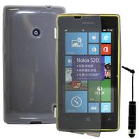 Nokia Lumia 520/ 525: Accessoire Coque Etui Housse Pochette silicone gel Portefeuille Livre rabat + mini Stylet - GRIS