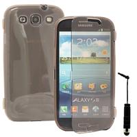 Samsung Galaxy S3 i9300/ i9305 Neo/ LTE 4G: Accessoire Coque Etui Housse Pochette silicone gel Portefeuille Livre rabat + mini Stylet - GRIS