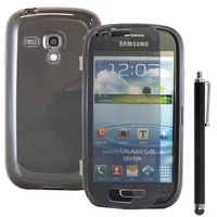 Samsung Galaxy S3 mini i8190/ i8200 VE: Accessoire Coque Etui Housse Pochette silicone gel Portefeuille Livre rabat + Stylet - GRIS