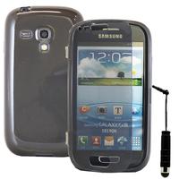 Samsung Galaxy S3 mini i8190/ i8200 VE: Accessoire Coque Etui Housse Pochette silicone gel Portefeuille Livre rabat + mini Stylet - GRIS