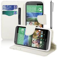 HTC Desire 816/ 816G Dual Sim: Accessoire Etui portefeuille Livre Housse Coque Pochette support vidéo cuir PU effet tissu + Stylet - BLANC
