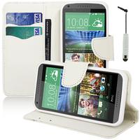 HTC Desire 816/ 816G Dual Sim: Accessoire Etui portefeuille Livre Housse Coque Pochette support vidéo cuir PU effet tissu + mini Stylet - BLANC
