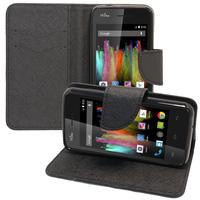 Wiko Kite 4G: Accessoire Etui portefeuille Livre Housse Coque Pochette support vidéo cuir PU effet tissu - NOIR