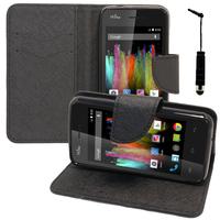 Wiko Kite 4G: Accessoire Etui portefeuille Livre Housse Coque Pochette support vidéo cuir PU effet tissu + mini Stylet - NOIR
