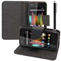 Wiko Kite 4G: Accessoire Etui portefeuille Livre Housse Coque Pochette support vidéo cuir PU effet tissu + Stylet - NOIR