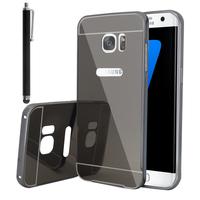 Samsung Galaxy S7 edge G935F/ G935FD/ S7 edge (CDMA) G935: Housse Coque Pare-chocs Aluminium Métal 2 en 1 Couvercle Luxe Mirroir Arriere + Cardre Regide + Stylet - SPACE GRAY