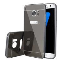 Samsung Galaxy S7 edge G935F/ G935FD/ S7 edge (CDMA) G935: Housse Coque Pare-chocs Aluminium Métal 2 en 1 Couvercle Luxe Mirroir Arriere + Cardre Regide - SPACE GRAY