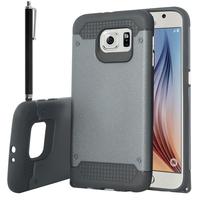 Samsung Galaxy S6 SM-G920/ S6 Duos/ S6 (CDMA)/ G920F G9200 G9208/SS G920A G920T G920S G920V G920W8: Coque Antichoc Heavy Duty Touch Armor + Stylet - NOIR