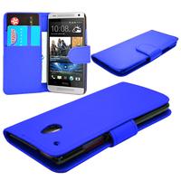 HTC One Mini M4/ 601/ 601e/ 601n/ 601s: Accessoire Etui portefeuille Livre Housse Coque Pochette cuir PU - BLEU FONCE