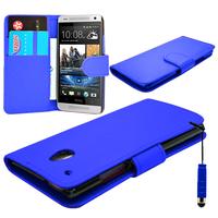 HTC One Mini M4/ 601/ 601e/ 601n/ 601s: Accessoire Etui portefeuille Livre Housse Coque Pochette cuir PU + mini Stylet - BLEU FONCE