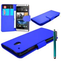 HTC One Mini M4/ 601/ 601e/ 601n/ 601s: Accessoire Etui portefeuille Livre Housse Coque Pochette cuir PU + Stylet - BLEU FONCE