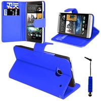 HTC One Mini M4/ 601/ 601e/ 601n/ 601s: Accessoire Etui portefeuille Livre Housse Coque Pochette support vidéo cuir PU + mini Stylet - BLEU FONCE