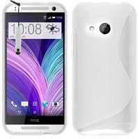 HTC One mini 2/ M8 Mini: Accessoire Housse Etui Pochette Coque Silicone Gel motif S Line + mini Stylet - BLANC