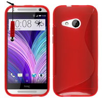 HTC One mini 2/ M8 Mini: Accessoire Housse Etui Pochette Coque Silicone Gel motif S Line + mini Stylet - ROUGE